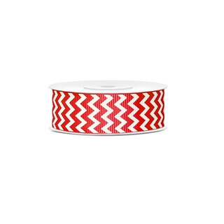 Gift ribbon Chevron, red-white, 25 mm, 10 m roll, ribbed