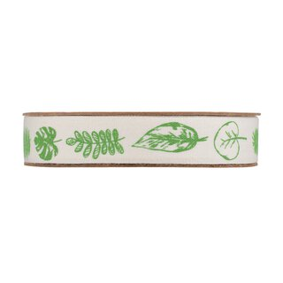 Bright decoration ribbon with green leaves, self...