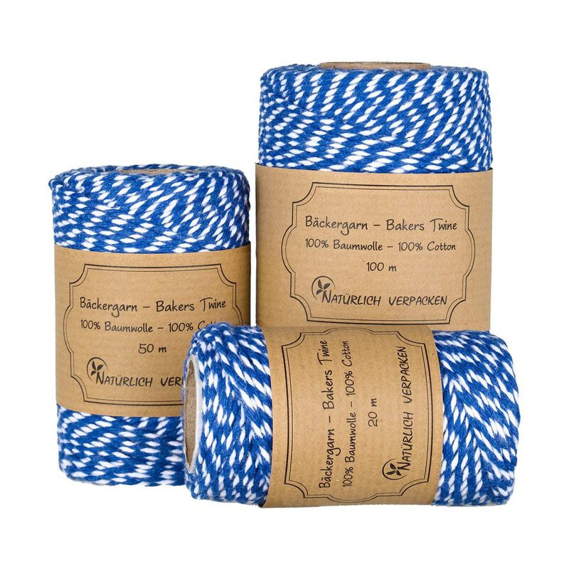 Bakers twine, Blue and White, 20, 50 or 100 m craft twine
