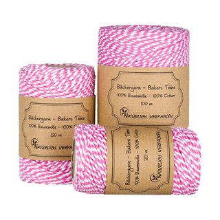 Bakers twine, Pink and White, 20 m, 50 m, 100 m craft twine