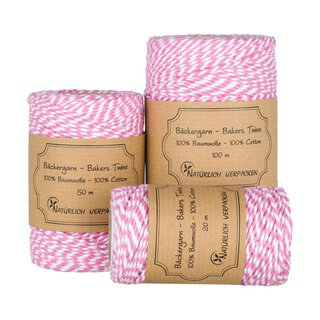 Bakers twine, pale pink and white, 20, 50 or 100 m craft...