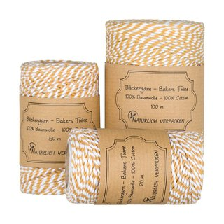 Bakers twine, gold yellow and white, 20, 50 or 100 m...