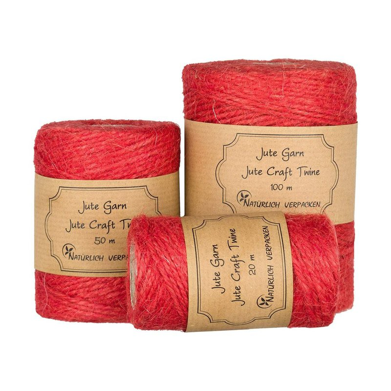 Jute twine, tomato red, 20, 50 or 100 m, colored jute cord