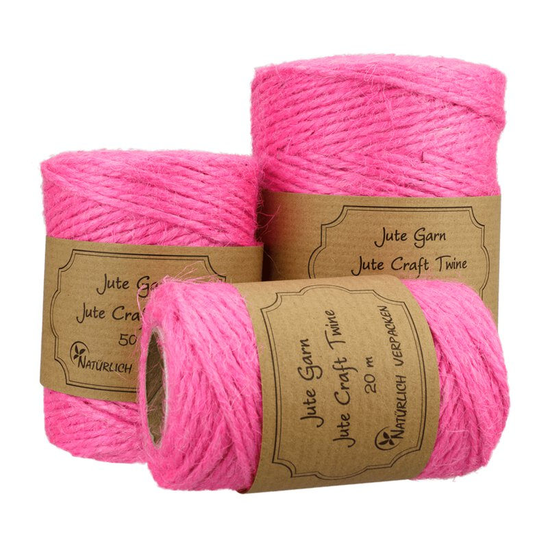 Jute twine, Hot Pink, 20, 50 or 100 m spoole