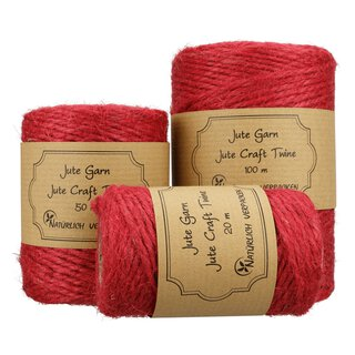 Jute twine, raspberry red, 20, 50 or 100 m spoole