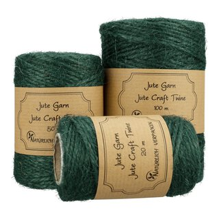Jute twine, Forrest green, 20 m, 50 m or 100 m craft twine