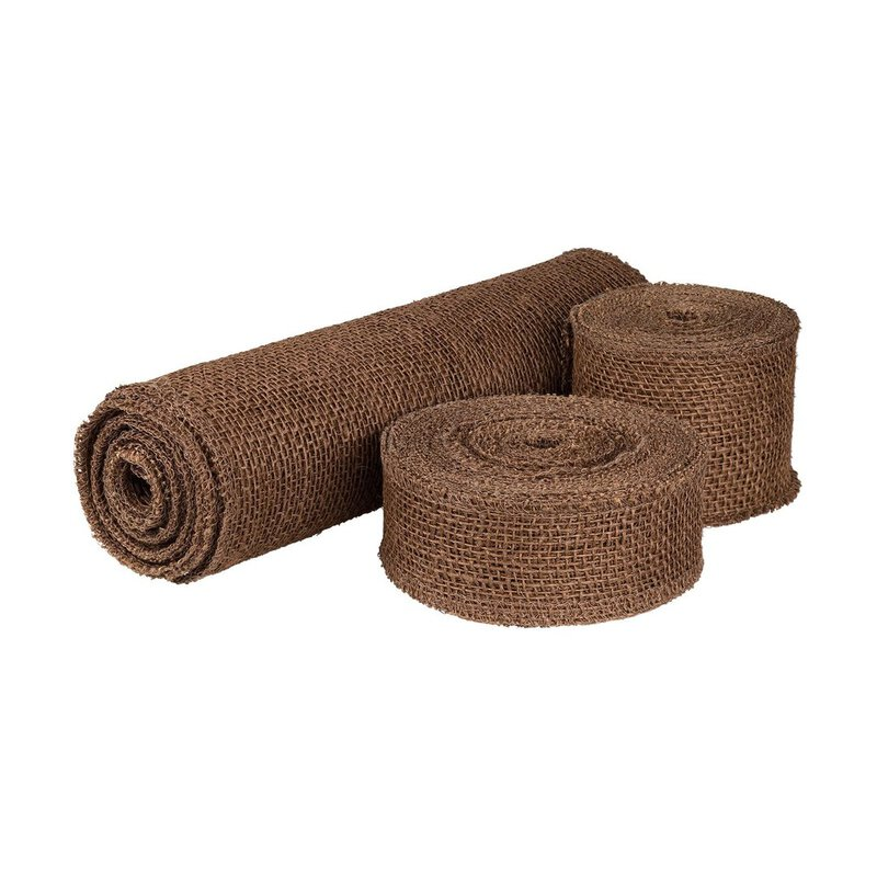 Decoration ribbon, jute, brown, 5, 8 or 30 cm wide, runner, chain-linked