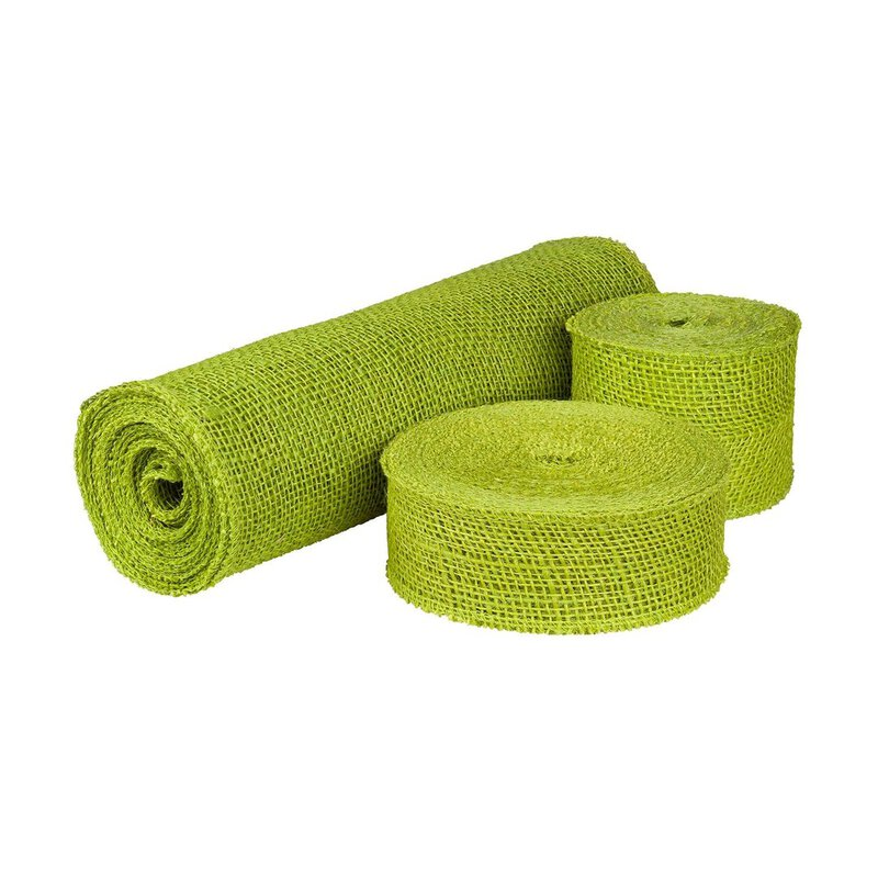 Decoration ribbon, jute Grass Green, 5, 8 or 30 cm wide, runner, chain-linked