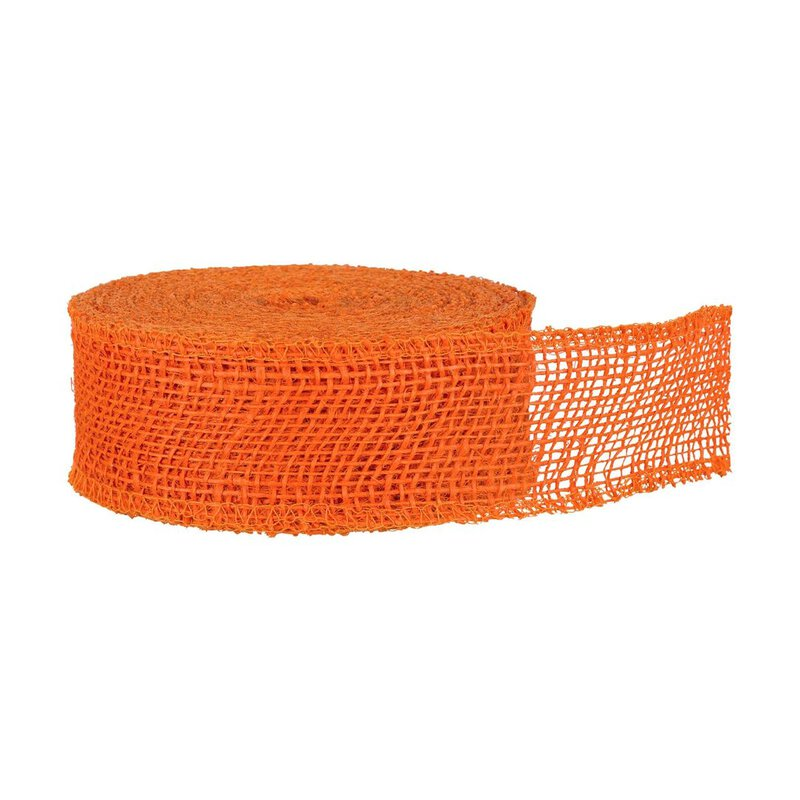 Jute ribbon Orange, 5 cm, 8 cm or 30 cm wide, solid quality