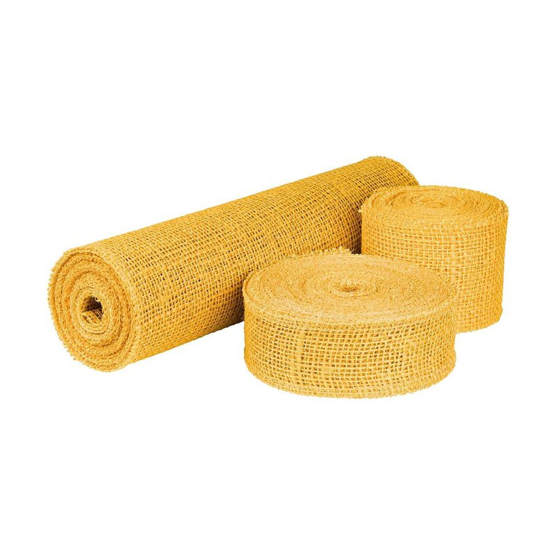 Jute ribbon Yellow, 5 cm, 8 cm or 30 cm wide, solid quality