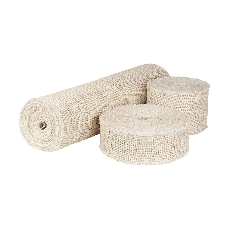 Jute ribbon cream, 5 cm, 8 cm or 30 cm wide, solid quality