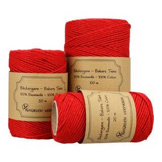 Bakers twine, Fire Red, solid color, 20 m, 50 m or 100 m