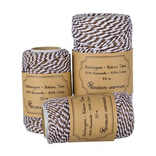 Bakers twine, bronze and white, 20, 50 or 100 m craft twine