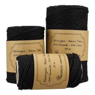 Bakers twine, Black, 20 m, 50 m or 100 m, pure cotton