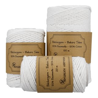 Bakers twine, White, 20 m, 50 m or 100 m, pure cotton
