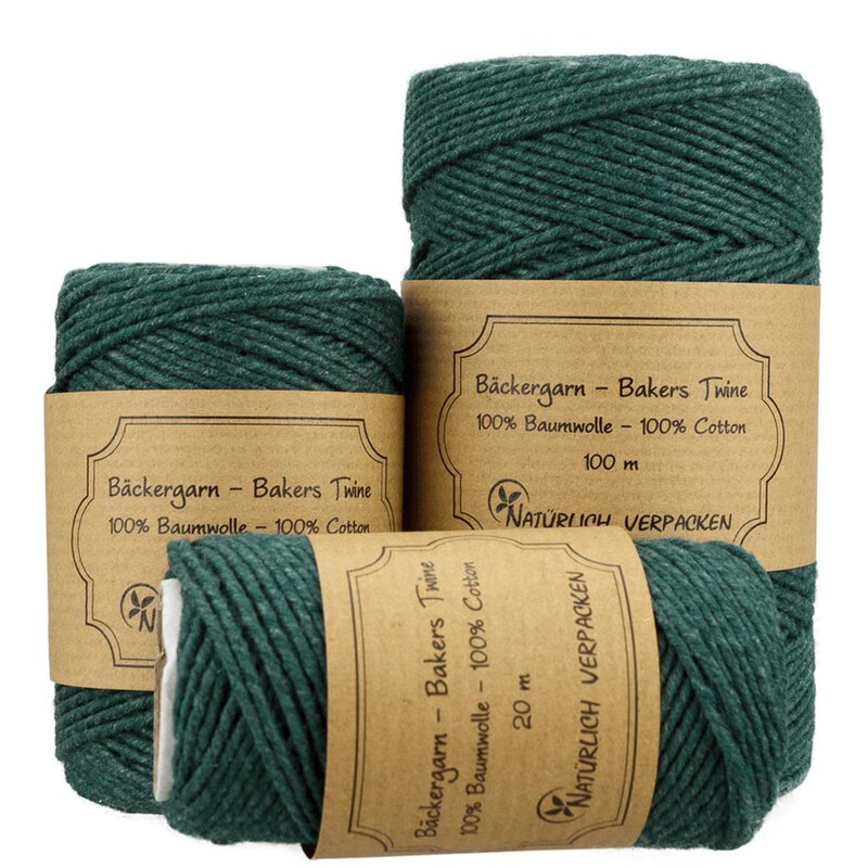 Bakers twine, forest green, 20 m, 50 m, 100 m, pure cotton