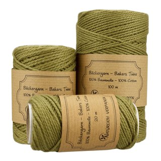 Bakers twine, olive green, 20 m, 50 m, 100 m, pure cotton