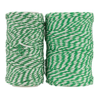Bakers twine, emerald and white, 20 m, 50 m, 100 m, pure...