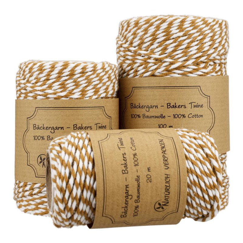 Bakers twine, caramel and white, 20, 50 or 100 m