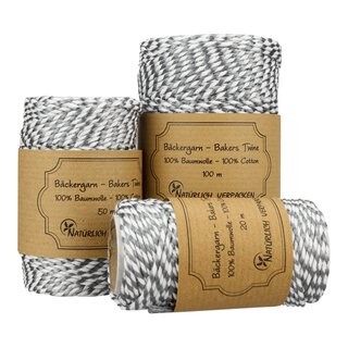Bakers twine, Silver and White, 20 m, 50 m or 100 m, pure...