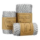 Bakers twine, Silver and White, 20 m, 50 m or 100 m, pure cotton