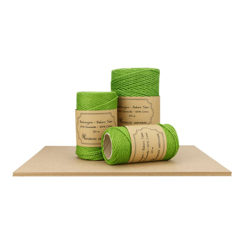 Bakers twine, Lime-green, 20 m, 50 m, 100 m, pure cotton