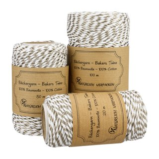 Bakers twine, platinum and white, 20, 50 or 100 m spool