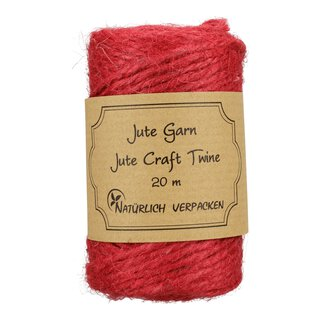 Jute twine, Raspberry Red, 20 m craft twine