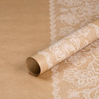 Wrapping paper White lace, 50 x 70 cm, kraft paper, white...