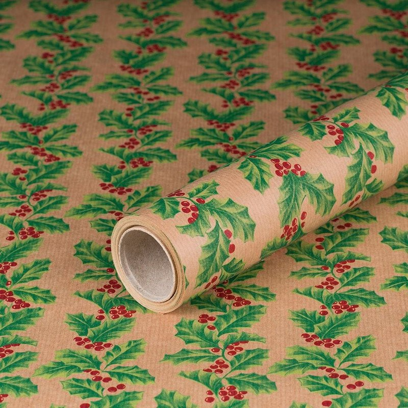 Gift wrapping paper Ilex, Holly, kraft paper, ribbed, 60 g/m² - 1 roll 0.70 x 10 m