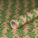 Gift wrapping paper Holly 0,7 x 10 m, Kraftpaper, roll