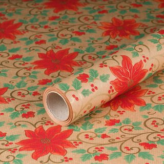 Gift wrapping paper Poinsettia 0,7 x 10 m, Kraftpaper, roll