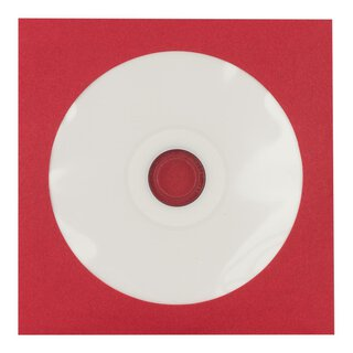 50 x Red CD envelopes, round window, self-adhesive closure