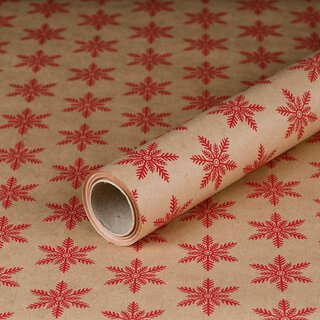 Gift wrapping paper Snowflake Red 0,7 x 10 m, Kraftpaper,...