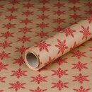 Gift wrapping paper Snowflake Red 0,7 x 10 m, Kraftpaper, roll