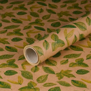 Gift wrapping paper Green Leaves, kraft paper, smooth, 60...