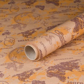 Gift wrapping paper Adventure World Tour, Kraft paper,...