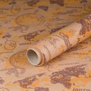 Gift wrapping paper Adventure World Tour, Kraft paper, smooth, 60 g/m² - 1 roll 0.70 x 10 m