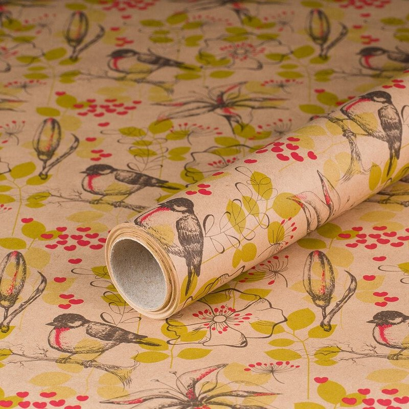 gift wrapping paper Robin 10 x 0,7 m, kraft paper
