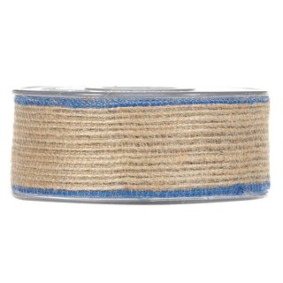 Jute ribbon with blue edge, 12 meter roll, various widths