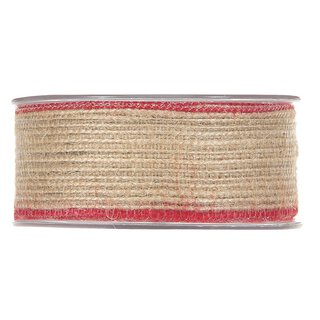 Jute ribbon with red edge, 12 meter roll, various widths