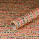 Gift wrapping paper Birthday, kraft paper, smooth, 60 g/m² - 1 roll 0.70 x 10 m