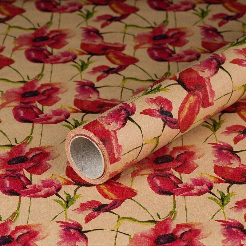 gift wrapping paper Poppy 10 x 0,7 m, kraft paper