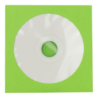 50 x CD paper sleeve, green, 126 x 126 mm, window,...
