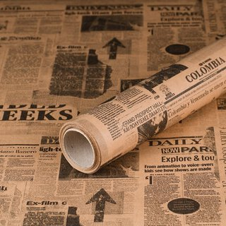Gift wrapping paper Newspaper 10 x 0,7 m, kraft paper