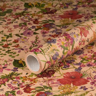 Gift wrapping paper spring flowers, kraft paper, smooth,...