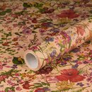 Gift wrapping paper spring flowers, kraft paper, smooth, 60 g/m² - 1 roll 0.70 x 10 m