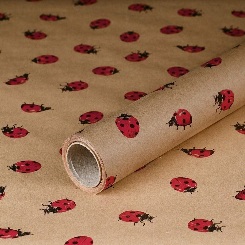 gift wrapping paper Ladybug 10 x 0,7 m, kraft paper