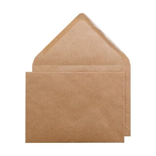 Envelope, C6, 114 x 162 mm, brown, ribbed, kraft, wet seal