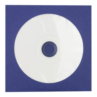 50 x CD paper sleeve, blue, 126 x 126 mm, window,...